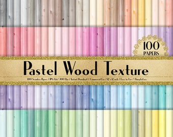 100 Seamless Pastel Wood Texture Papers in 12 inch, 300 Dpi Planner Paper, Commercial Use, Scrapbook Paper,Rainbow Paper, 100 Wood Papers