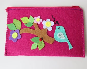 felt wallet, make-up organizers, jewelery bag, pencil case, purse bird&flowers personalized valentines day gift for her zipper clucth