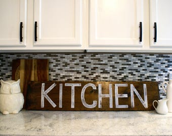 Large Kitchen Rustic Wooden Sign  |  Hand Lettered  |  Home Decor  |  Gift Idea  |  Farmhouse Style