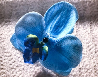 Blue white orchid silk flower floral silver 14g industrial body jewelry earring