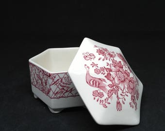 Jewelry box / box ring bearer Mason's patent ironstone pink Stratford - Jewelry box / box wedding ring Rose