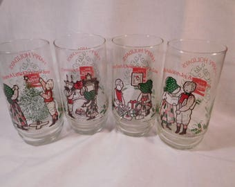 Set of Four Coca-Cola Holly Hobby Glasses