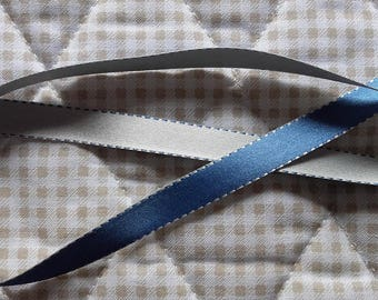 Ribbon SATIN Double sided BICOLOR Blue 10 mm - selling by the yard