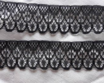 CALAIS lace Black - 2 rows shells - width 2 cm 3 (23mm) - for sale by the yard