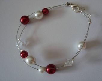Poppy red and white bracelet