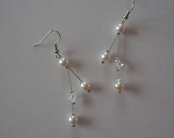 Wedding white and transparent beads earrings