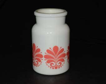Belgium vintage milk glass jar with plastic lid, Milk Glass Lidded Apothecary Jar with Strawberry Red Designs