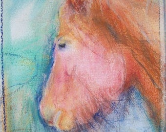 Young Chestnut horse painting - original pastel and watercolor