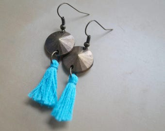 Bronze earrings with tassel