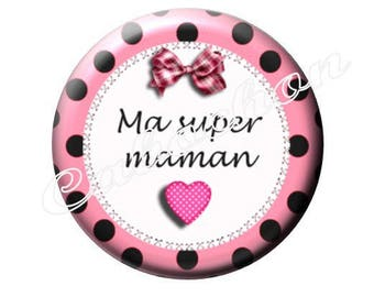 2 cabochons mother's day, heart, bow, your pink with polka dots, 25 mm glass