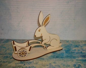 HD005 Easter Bunny, it's put an egg on wheelbarrow