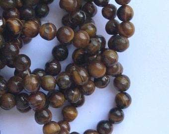 10 round beads 6 mm natural gemstone Tiger eye Brown