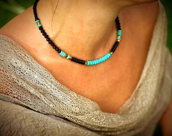 Women Stone Necklace choker boho gemstone necklace