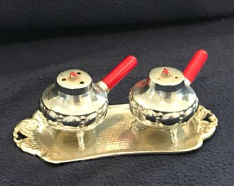 Vintage Silver Metal Serving Tray with Salt and Pepper Shakers