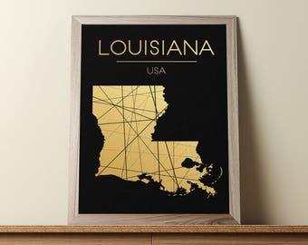 Louisiana Wall Art, Louisiana Poster, Louisiana Map, Louisiana State Sign, Louisiana Print, Louisiana Map Print, Geometric Art, JPG