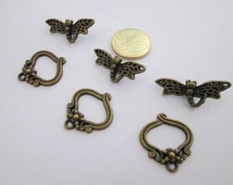 3 fermoir toggle libellule en métal couleur bronze 30 mm