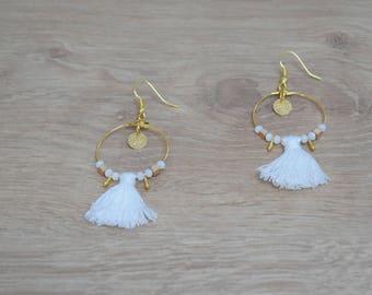Black Silver or gold or white tassel Earrings