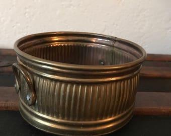 "Small vintage brass planter - 3"" x 6.5"" dia."