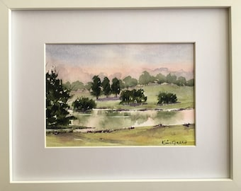 Sunset Reflections 1, Framed Original Watercolour Painting
