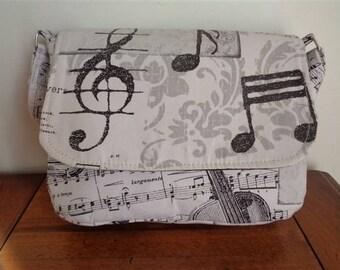 Music notes print cotton Messenger bag