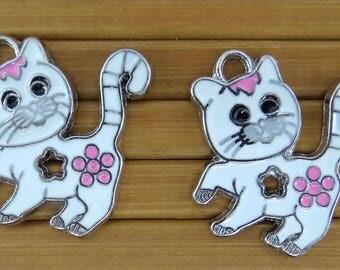 4 connectors cat bc153 enamelled metal pendants charms