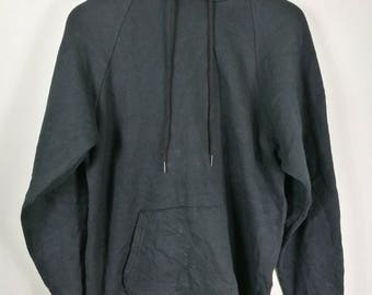 vintage plain pullover hooded black sz L