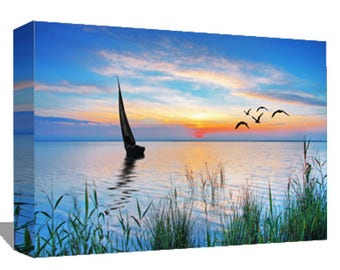 Landscape Canvas, Canvas Art, Wall Decor Canvas, Gallery Wrap Fine Art, Photography Canvas, Boating into Sunset, Wall Art