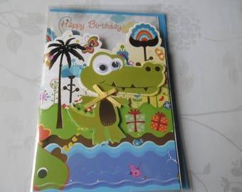 x 1 card double 3D multicolored crocodile pattern + envelope blue 18 x 12 cm