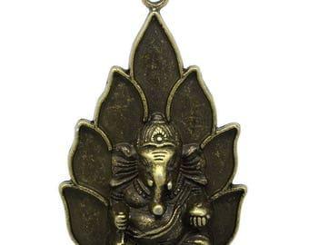 x 1 pendant/charm Buddha elephant color bronze 5.3 x 3.6 cm