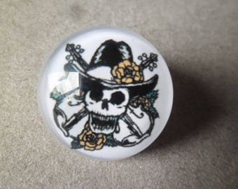 x 1 snap round glass dome pattern skull 18 mm
