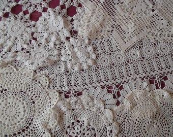 Set of 6 pieces of crochet