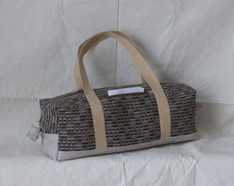 coated fabric and fabric duffel bag beige beige handle