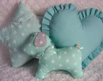 3 PCS SET star,dog,heart, cushions,pillow,pink,gray,blue,mint,baby,girl,boy,cute,gift,gift idea,birthday,kids room,