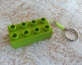 Keychain original brick construction green Rectangle