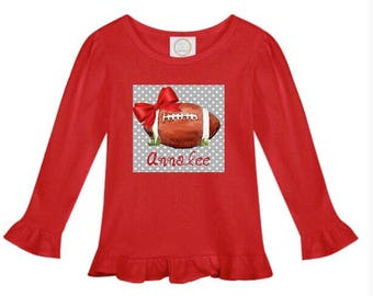 Football Watercolor Ruffle Tee - Custom Football Shirt - Girls Football T Shirt