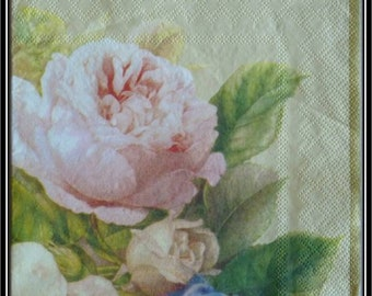 paper napkin with roses on an ecru background