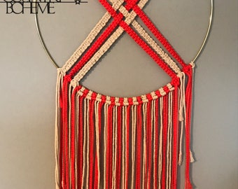 Cotton and coral large round macrame wall hanging dream catcher