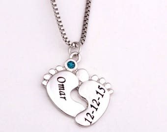 Baby feet pendant necklace