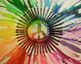 Melted Crayon Art Peace Sign
