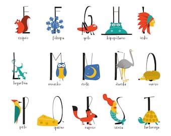 Illustrated Alphabet Galego