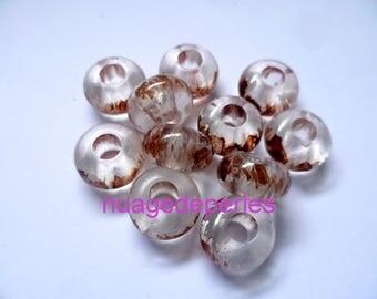 6 beads for bracelet European pandora Brown pink 14mm
