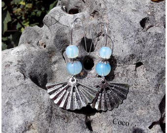 Opal stone beads earrings