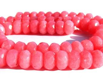 8 rhodochrosites d'Argentine Abacus à facette de 8x5 mm perles pierre rose.