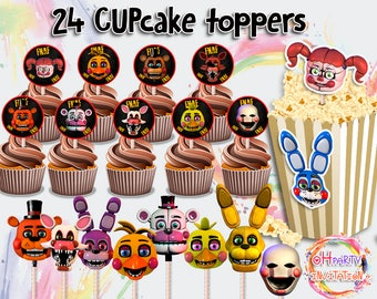 24 Fnaf centrepieces printables. Five nights at Freddys cupcake toppers Fnaf party supplies. Fnaf birthday decoration. Fnaf labels