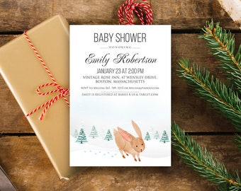 Winter Baby Shower Printable Invitation Template Woodland Bunny Rabbit Baby Shower Invite Snow Forest Animal Baby Shower Editable Invitation