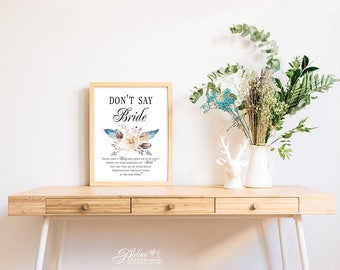 Boho Floral Dont Say Bride Game Printable Bridal Shower Games Dont Say Bride Ring DIY Game Put A Ring On It Game Flower Feathers Arrow Signs