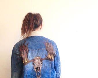 Vintage denim jacket with hand painted fiery moose skull