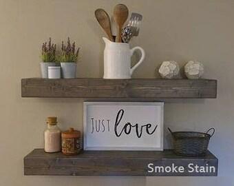 Floating Wood Shelf For Kitchen, Rustic Kitchen Shelves, Floating Wooden  Shelves, Kitchen Shelves
