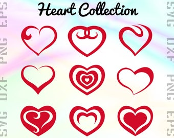 Heart SVG Files - Love Heart Clipart - Heart Cricut Files - Heart Dxf Files - Heart Cut Files - Heart Png - Svg, Dxf, Png, Eps Vectors