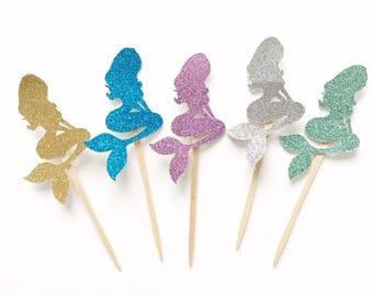 MERMAID cupcake toppers - mermaid party - mermaid topper - mermaid cake - mermaid birthday- party decor- mermaid party decor- first birthday